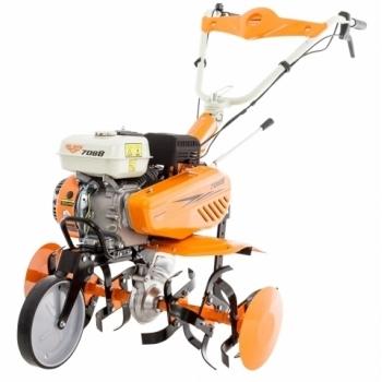 Motosapa Ruris 7088 ACC+roti cauciuc+plug+adaptor+cultivator, benzina , putere 7 Cp, latime de lucru 56-83 cm, pornire la sfoara, 2 viteze inainte + 1 viteza inapoi