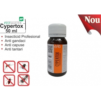 Insecticid profesional impotriva gandacilor, puricilor, mustelor, tantarilor, furnicilor - Cypertox, 50 ml, Pestmaster