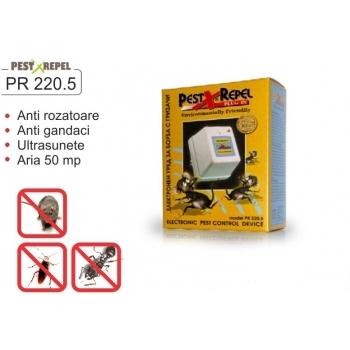 Aparat cu ultrasunete pentru alungat soareci, sobolani, gandaci  PR 220.5, 50 mp, Pestmaster