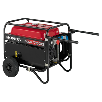 Generator de curent Honda, ECMT 7000, trifazic, putere 5.2 kW, benzina, putere motor 7 Cp, tensiune 400 V, pornire manuala, cadru inchis cu roti de transport, transformator compound