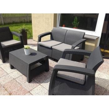 Set mobilier gradina ratan Corfu Graphite Cool Grey, 4 locuri #3
