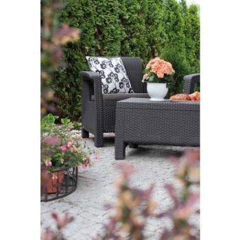 Set mobilier gradina ratan Corfu Graphite Cool Grey, 4 locuri #10