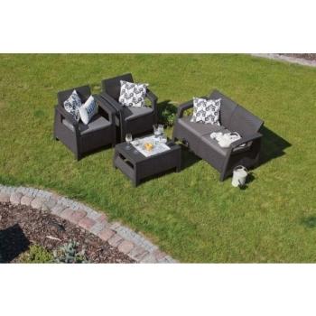 Set mobilier gradina ratan Corfu Graphite Cool Grey, 4 locuri #11