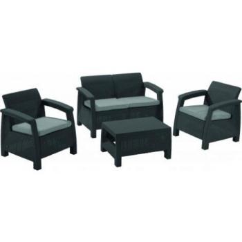 Set mobilier gradina ratan Corfu Graphite Cool Grey, 4 locuri