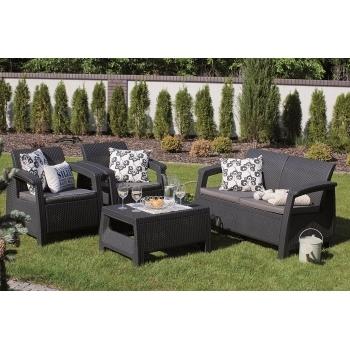 Set mobilier gradina ratan Corfu Graphite Cool Grey, 4 locuri #5