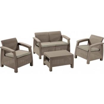 Set mobilier gradina ratan Corfu Cappuccino - Sand, 4 locuri