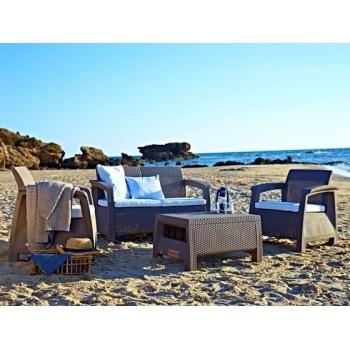 Set mobilier gradina ratan Corfu Cappuccino - Sand, 4 locuri #3