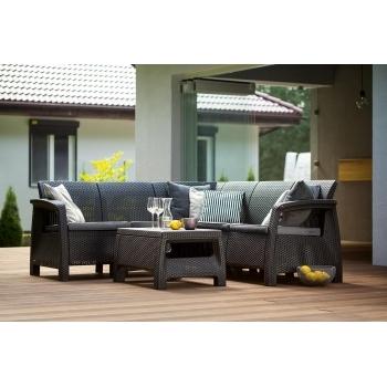 Set mobilier gradina ratan Corfu Relax Graphite Coolgrey, 5 locuri #4