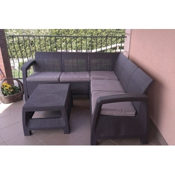 Set mobilier gradina ratan Corfu Relax Graphite Coolgrey, 5 locuri #5
