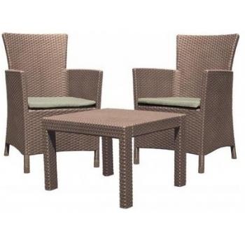 Set mobilier balcon ratan Rosario Cappucinno - Sand, 2 locuri