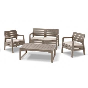 Set mobilier gradina Delano Cappucinno - Sand, 4 locuri