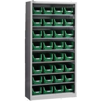 Dulap Expert Open A-32, pentru depozitare, cu 32 cutii plastic, Metalobox