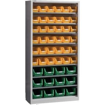 Dulap Expert Open C 48,  pentru depozitare, cu 48 cutii plastic, Metalobox