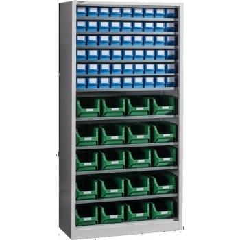 Dulap Expert Open E 74 pentru depozitare, cu 74 cutii plastic, Metalobox