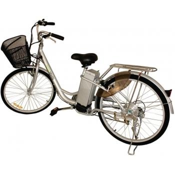 Bicicleta electrica Nova Vento Clasic L26A Silver, autonomie 55 km, viteza maxima de deplasare 25 km/h