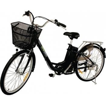 Bicicleta electrica Nova Vento Clasic L26A Black, autonomie 55 km, viteza maxima de deplasare 25 km/h