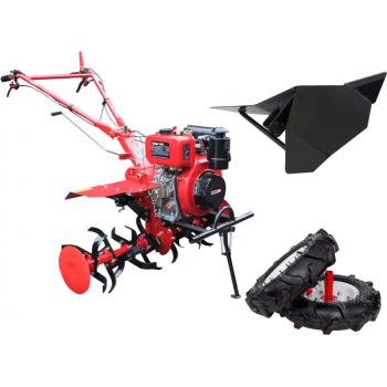 Motocultor Energo H105E + roti cauciuc + rarita, motorina, putere 7 Cp, latime de lucru 105 cm, pornire la sfoara, 2 viteze inainte + 1 inapoi