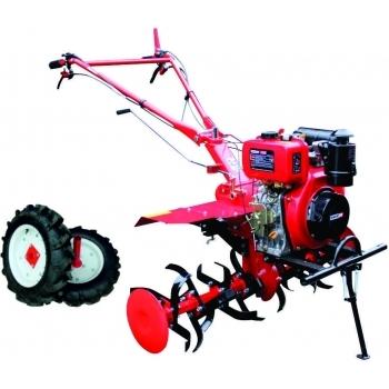 Motocultor Energo H105E + roti cauciuc, motorina, putere 7 CP, latime de lucru 105 cm, pornire la sfoara, 2 viteze inainte + 1 inapoi