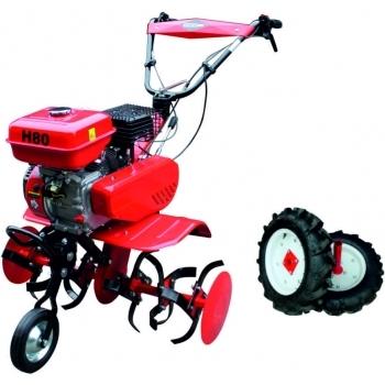 Motosapa Energo H80 + roti cauciuc,benzina, putere 7 Cp, latime de lucru 80 cm, pornire la sfoara, 2 viteze inainte + 1 inapoi