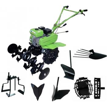 Motosapa BSR 500 B4R freze + roti cauciuc 4-8 + rarita fixa + rarita reglabila + plug arat +roti metalice 250mm cu manicot + plug de scos cartofi + prasitoare , latime de lucru 800-1000 mm, 7 CP
