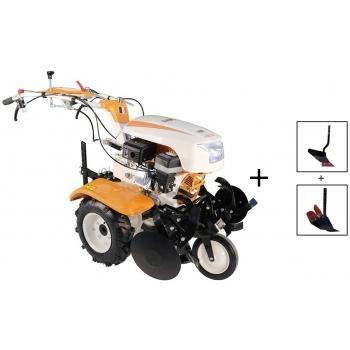 Motocultor O-mac NEW 1000-S 7 CP cu roti cauciuc  + plug + rarita, latime de lucru 50-90 cm