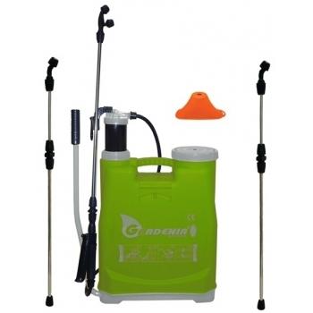 Pompa de stropit manuala Gardenia, din plastic, capacitate rezervor 16 L, 2 lance inox telescopice, palnie erbicidat