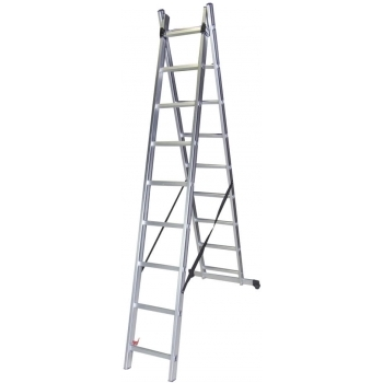 Scara dubla STR209, 2x9 trepte, din aluminiu, 2.40 metri