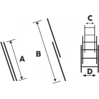 Scara dubla STR211, 2x11 trepte, din aluminiu, 3 metri #2