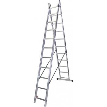 Scara dubla STR211, 2x11 trepte, din aluminiu, 3 metri