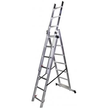 Scara tripla STR307, 3x7 trepte, din aluminiu, 1.98 metri #2