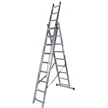 Scara tripla STR309, 3x9 trepte, din aluminiu, 2.53 metri #2
