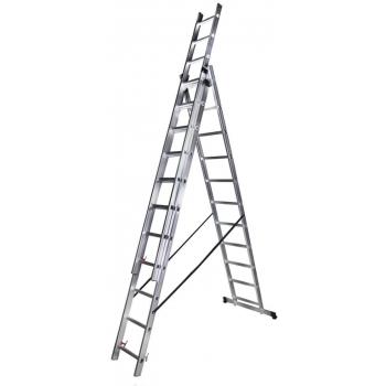 Scara tripla STR311, 3x11 trepte, din aluminiu, 3 metri #2