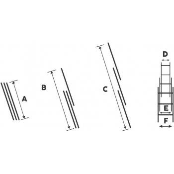 Scara tripla STR311, 3x11 trepte, din aluminiu, 3 metri #4