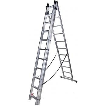 Scara tripla STR311, 3x11 trepte, din aluminiu, 3 metri