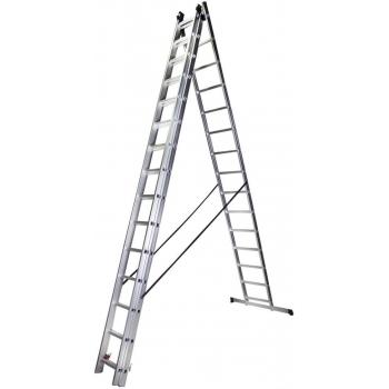 Scara tripla STR315, 3x15 trepte, din aluminiu, 4.13 metri #2