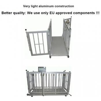 Cantar pentru animale , structura complet aluminiu, dimensiuni 1510x560x850 mm, capacitate maxima 300 kg,  acumulator si certificare metrologica
