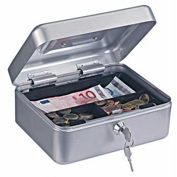 Caseta bani HOMESTAR cash 2, otel, inchidere cu 2 chei, argintiu