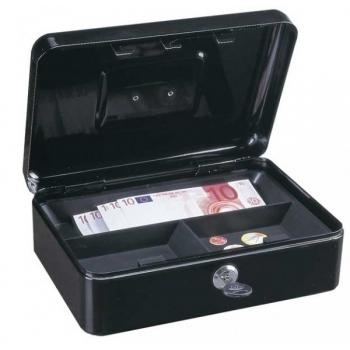 Caseta bani HOMESTAR cash 3, otel, inchidere cu 2 chei, negru