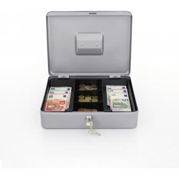 Caseta bani HOMESTAR cash 4, otel, inchidere cu 2 chei, argintiu #5