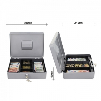Caseta bani HOMESTAR cash 4, otel, inchidere cu 2 chei, argintiu #4