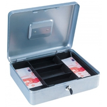 Caseta bani HOMESTAR cash 4, otel, inchidere cu 2 chei, argintiu