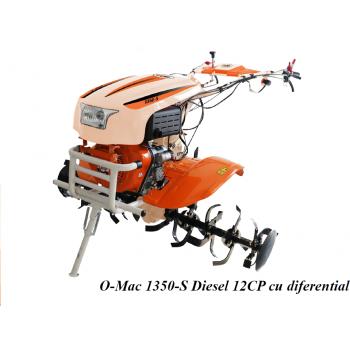 Motocultor O-MAC NEW 1350-S cu diferential + roti, motorina, putere 12 Cp, latime de lucru 50-70 cm, pornire automata la cheie, 2 viteze inainte + 1 inapoi #2
