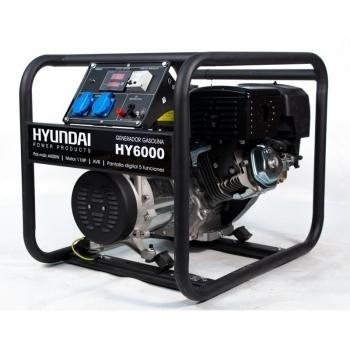 Generator de curent Hyundai, HY6000, monofazic, putere 4.4 kW, benzina, putere motor 11 Cp, tensiune 230 V, pornire manuala, AVR inclus