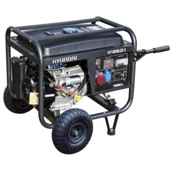 Generator de curent Hyundai, HY10000LEK-T, trifazic, putere 7.0 kW, benzina, putere motor 17 Cp, tensiune 400 V / 230 V, pornire electrica, AVR inclus