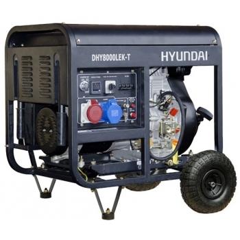 Generator de curent Hyundai, DHY8000LEK-T, trifazic, putere 6.0 kW, diesel, putere motor 12 Cp, tensiune 400 V, pornire electrica, AVR inclus