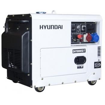 Generator pentru sudura Hyundai, DHY8000SE-T insonorizat, trifazic, putere 5.0 kW, diesel, putere motor 12 Cp, tensiune 400 V, pornire electrica, AVR inclus, maner si roti