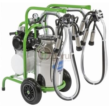Aparat de muls vaci Milkkar2/1 Premium, 2 posturi, bidon inox 40L, pompa vid cu ungere, pulsatoare pneumatice cu filtru aer, tanc vacuum, autospalare, productivitate 20-24 vaci/ora