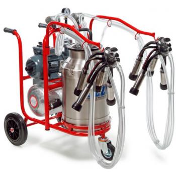 Aparat de muls vaci PLS2/1 Lux, 2 posturi, bidon inox 40L, pompa vid uscata fara ungere, pulsator pneumatic cu filtru aer, tanc vacuum, autospalare, productivitate 20-24 vaci/ora