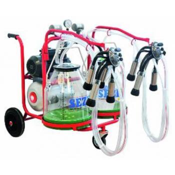 Aparat de muls vaci PLS2 Lux, 2 posturi, 2 bidoane transparente gradate 30L, pulsator pneumatic cu filtru aer, tanc vacuum, autospalare, productivitate 20-24 vaci/ora