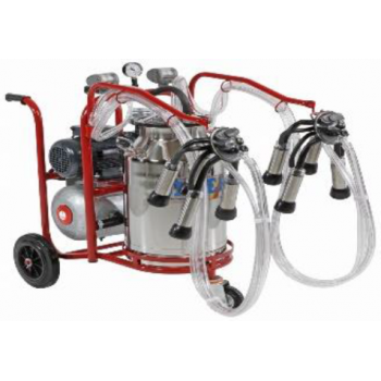 Aparat de muls vaci cu motor termic PLS2/1 Lux, 2 posturi,  bidon inox 40L, pompa vid uscata fara ungere, pulsator pneumatic cu filtru aer, tanc vacuum, autospalare, productivitate 20-24 vaci/ora